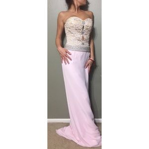 Evening Gown Tan Lace Bodice/ Pink Chiffon Bottom